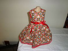 Dress handmade fit 18 inch American Girl doll Christmas printed quilt square 210