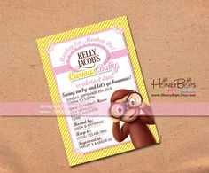 Curious george baby shower party ideas curious george baby shower curious george invitation baby shower or birthday by honeybops filmwisefo