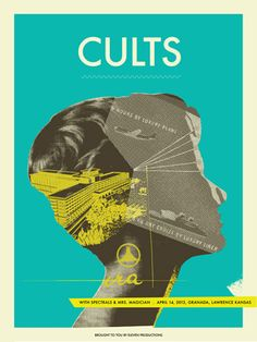 Cults concert poster by Vahalla Studios Concert poster / gig poster / music / show poster / illustration / screen print / graphic design Graphic Design Posters, Concert Posters, Art Design, Graphic Prints, Illustrations Posters, Graphic Illustration, Visual Design, Screen Printing Graphic Design, Graphic Art