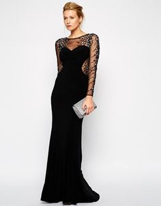 Enlarge Forever Unique Iris Maxi Dress with Embellished Mesh Sleeves