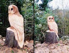 Vyřezávaná sova ze dřeva