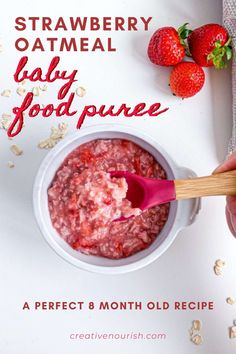This straberry oatmeal Baby Puree recipe is a wonderful first food for baby! A delicious nutrient-dense puree that baby will go gaga over! Great baby food for 8 months and up. #kidfriendymeal #kidfriendlyfood Homemade Baby Puree Recipes, Pureed Food Recipes, Baby Food Recipes, Strawberry Oatmeal, Strawberry Recipes, Recipe For 6, Healthy Carbs, 8 Months, Kid Friendly Meals
