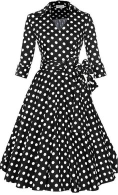 Vintage fit and flare polka dot dress with matching ribbon belt up to 4XL