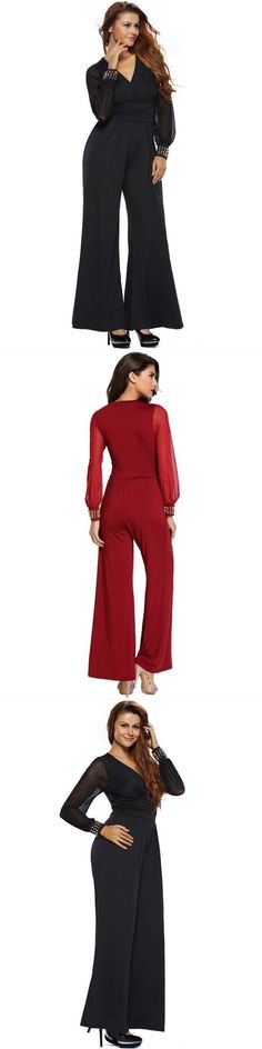 8a8c9c141d8 Sexy work mesh long sleeve v-neck women bell bottoms wide leg jumpsuit buy  jumpsuits