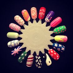 Colorful Nail Art Wheel. Done by me!