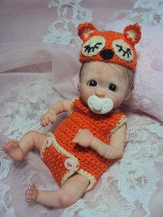 "Mini OOAK HAND SCULPTED  Polymerclay Doll  Baby Boy Ronald 5"""