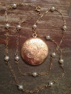 Antique Victorian Edwardian 1/4 Rose Gold Shell Scroll Work Locket, Swirl Etched, Freshwater Pearl Handmade Gold FIlled Chain, Circa 1900s