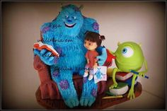 Mike, sully y boo Monster University, Monsters Inc, Sully, Grinch, Fondant, Fictional Characters, Cakes, Art, Character