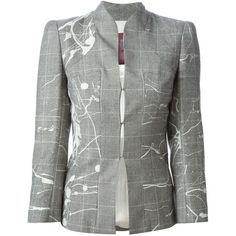 Grey wool and silk houndstooth jacket from John Galliano Vintage featuring a stand up collar, a front hook and eye fastening and long sleeves.  Please note tha…