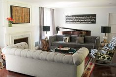 Gray living room with a two sofa layout. Two sofas facing each other adds such great seating for conversation.