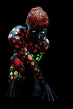 polka dot glow light girl woman