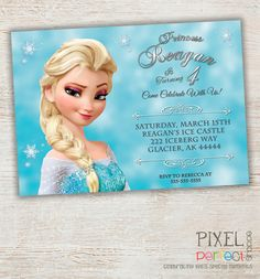 FROZEN PRINTABLE INVITATION, Custom Frozen Invitation For Girls Birthday Party, Frozen Party Decor, Photo Invitation, Disney Frozen, Frozen on Etsy, $20.00