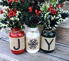 Christmas Holiday Burlap Mason Jars set of 3. Christmas ideas at http://knotandnestdesigns.com