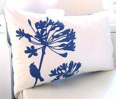 SALE Cobalt Blue Print on White Cotton Cardinal on by joom on Etsy