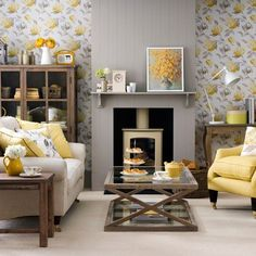 30 Gorgeous Yellow Living Room Color Schemes For Feeling More Comfort Grey And Yellow Living Room, Living Room Accents, Living Room Color Schemes, Living Room Designs, Living Room Decor Colors Grey, Grey Wallpaper Living Room, Lounge Colour Schemes, Small Living Rooms, My Living Room