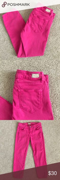 """Paige Roxie Capri Jeans Stretch Pink Sz 27 Good used condition, Paige Roxie Capri Jeans in pink...size 27. The elastic is sort of pulled out of shape near the zipper, but it doesn't take away from how cute these pants are.   Approximate measurements:   Waist - 29""""   Inseam - 24""""   Rise - 8""""   All reasonable offers will be considered.   Comes from my clean, smoke/pet free home.    Thanks for looking! PAIGE Jeans Ankle & Cropped"""