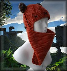 Crochet pattern - Ewok-inspired beanie and face scarf - $6.99 USD