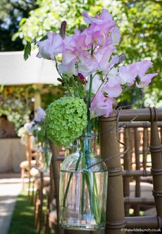 Aisle flower detail from an outdoor ceremony at Maunsel House. A 'Natural' summer. Aisle Flowers, Wedding Flowers, Sweet Peas, Table Plans, Outdoor Ceremony, Big Day, Summer Wedding, Indoor Outdoor, Pergola