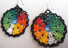 Mexican Huichol Beaded Flower Earrings by Aramara on Etsy Flower Earrings, Beaded Earrings, Beaded Jewelry, Crochet Earrings, Loom Beading, Beading Patterns, Bead Loom Designs, Native Beadwork, Beading Projects