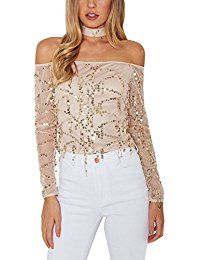 New YOINS Women Off Shoulder Bright Lights Sequin Long Sleeves Top with Neck Tie online. Find the perfect IN'VOLAND Tops-Tees from top store. Sku LKIF39206VZDU88861