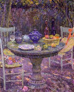#Art #Summer #Scenes Lunch in the garden love the colours used here - Henri Le Sidaner http://www.ablankcanvas.net