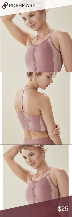 🔥FABLETICS🔥 Midi Sports Bra, Size XXS/XS, NWT! INFO NWT! Never worn before. NWT! FABLTECIS x DEMI LEVATO.  DETAILS FABLETICS Midi Bra. Racerback. Seamless moisture-wicked fabric. Front & back mesh panels. Halter Beck with adjustable back strap. Removable cups (not included). Light support. Vintage rose/ Almond color. Size XXS/XS (0-4). NWT!  CARE Machine wash. Fabletics Tops Crop Tops