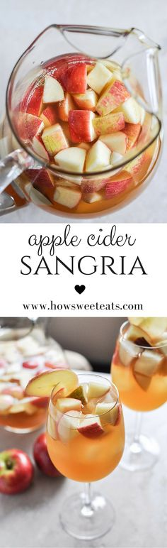 Apple Cider Sangria - Donna Albanese Apple Cider Sangria Apple Cider Sangria by how sweet eats I how Best Apple Cider, Apple Cider Sangria, Fall Sangria, Fall Cocktails, Holiday Drinks, Christmas Mocktails, Red Sangria, Cranberry Juice, Fun Drinks