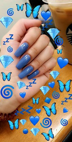 Yahh blue is my fav colour Emoji Wallpaper Iphone, Cute Emoji Wallpaper, Aesthetic Iphone Wallpaper, Cute Nails, Pretty Nails, Wallpaper Tumblrs, Emoji Photo, Angel Nails, Snapchat Streak