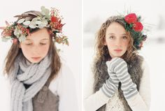 LOVE elements. Wintery wonderland children's shoot. Inspired by ... evergreen~winter crowns~snow Winter Floral crowns by La Fete Floral and events. All photos courtesy of Green Apple Photography.