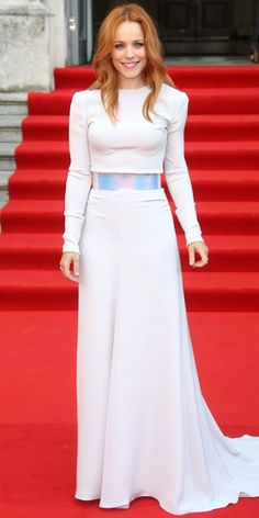 RACHEL MCADAMS At the London world premiere of About Time, Rachel McAdams stunned in a complete Roksanda Ilincic ensemble: A pale lavender long-sleeve top, a matching floor-sweeping skirt and an iridescent belt.