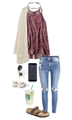 """""""Untitled #632"""" by shelbycooper ❤ liked on Polyvore featuring American Eagle Outfitters, H&M, Violeta by Mango, Birkenstock and Bounkit"""