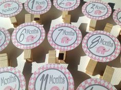 Year Photo Clips - Pink Elephant Happy Birthday Banner - Pink and Gray - Party Pack Specials Available