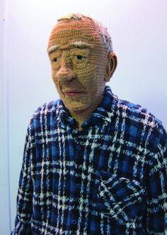 Matti - life-size crochet and knitted man - by Liisa Hietanen Crochet Amigurumi, Crochet Doll Pattern, Crochet Toys Patterns, Crochet Dolls, Knit Art, Crochet Art, Crochet Home, Free Crochet, Crochet Faces