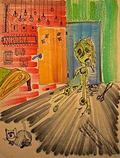 Nirvana - Painting,  21x27 cm ©2015 da Giulia Abbadessa -                                            Arte astratta, Altro, buio, silenzio, schizofrenia, orbite, abbandono