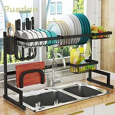Dish Drying Rack Over Sink, Drainer Shelf for Kitchen Supplies Storage Counter Organizer Utensils Holder Stainless Steel Display- Kitchen Space Save Must Have (Sink size ≤ 32 inch, black) Home Decor Kitchen, Home Kitchens, Kitchen Dining, Kitchen Ideas, Kitchen Must Haves, Apartment Kitchen, Home Interior, Kitchen Interior, Stainless Steel Kitchen Shelves