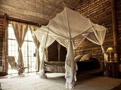 romantic cabin bedroom