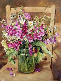foxgloves and other flowers, painting - Anne Cotterill Art Floral, Deco Floral, Flower Vases, Flower Art, Flower Arrangements, Wow Art, Still Life Art, Botanical Art, Beautiful Paintings