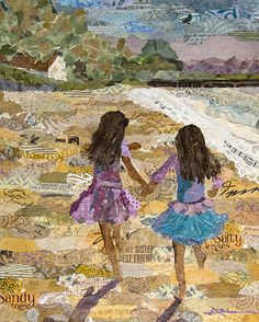 At Home on the Beach Torn Paper Collage                                                                                                                                                      More