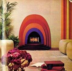 National Coal Board ad scanned from Vogue UK, September 15, 1972. Fireplace by Jon Bannenberg