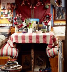 All Images from Daily Mail online Emma brought this beautiful 38 ft narrowboat in 2011 having previously rented from its own. Canal Barge, Canal Boat, Narrowboat Interiors, Houseboat Living, Boat Fashion, Floating House, Tiny House Movement, Water Crafts, Best Interior