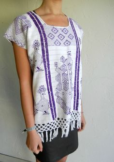 White & Purple Aztec Mexican Knit Fringe Top by rerunvintage, $61.99