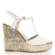 Kate Spade Day wedges in white with metallic gold soles #summer #sparkles #girly