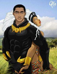 Black Panther & Storm, by Harvey Cahn Jr Black Love Art, Black Girl Art, Black Is Beautiful, Black Girl Magic, Black Panther Storm, Black Panther Art, Black Panther Marvel, Black Anime Characters, Comic Book Characters