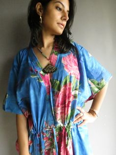 Buttoned till Drawstring Kaftan Style made From E2  Fabric Pattern