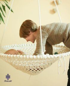 Baby Crochet Mandala Crochet Swing - Handmade Recycled White Crochet Chair, Shabby Chic Home Decor, Kids Room Furniture (No. - Get The Pattern Here: Mandala Crochet Swing - Handmade Recycled Crochet Home Decor, Crochet Crafts, Yarn Crafts, Doilies Crafts, Diy Crafts, Crochet Stitches, Knit Crochet, Crochet Patterns, Crochet Hammock
