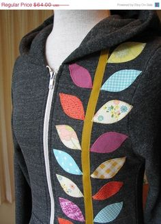 Great idea to use leftover scraps on a plain hoodie