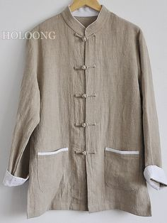 Republic of china Linen Double-breasted ContrastColor Designer Men Loose Jackets
