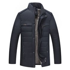 Mens Winter Plus Thick Warm Cotton Padded Zipper Button Stand Collar Jacket