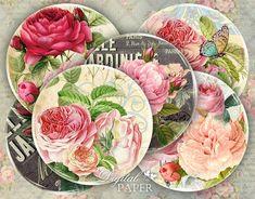 Elegance - inch circles - set of 12 - digital collage sheet - pocket mirrors, tags, scrapbooking, cupcake toppers Recycled Cds, Collage Sheet, Digital Collage, Journal Cards, Cupcake Toppers, Artwork Prints, My Images, Pink Roses, Scrapbooking