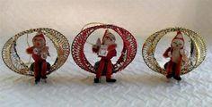 Three vintage spun cotton-chenille Santa wire-tinsel Christmas ornaments Japan | eBay